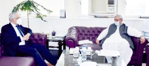 ISLAMABAD: August 27 – Federal Minister for National Food Security and Research, Syed Fakhar Imam in a meeting with Ambassador Of Arabic Republic Of Egypt To Pakistan, Mr. Tarek Dahrough. APP