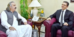 ISLAMABAD: August 27 – Country Head of Turkish Cooperation and Coordination Agency Mr. Gokhan Umat calls on Federal Minister for Kashmir Affairs and Gilgit-Baltistan Ali Amin Khan Gandapur. APP