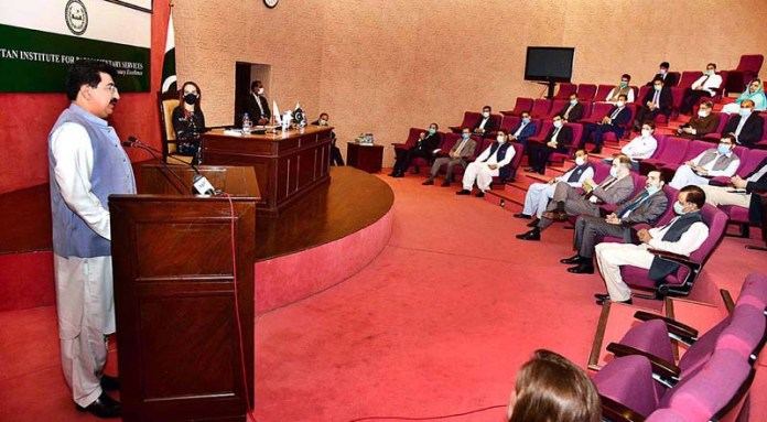 ISLAMABAD: August 23 – Chairman Senate, Muhammad Sadiq Sanjrani addressing the ceremony of Presentation of IPU'S 130th Anniversary Book at Pakistan Institute for Parliamentary Services (PIPS). APP