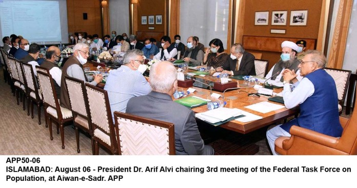ISLAMABAD: August 06 - President Dr. Arif Alvi chairing 3rd meeting of the Federal Task Force on Population, at Aiwan-e-Sadr. APP