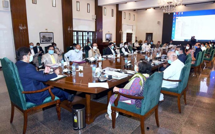 KARACHI: August 20 – Sindh Chief Minister Syed Murad Ali Shah presides over a cabinet meeting at CM House. APP