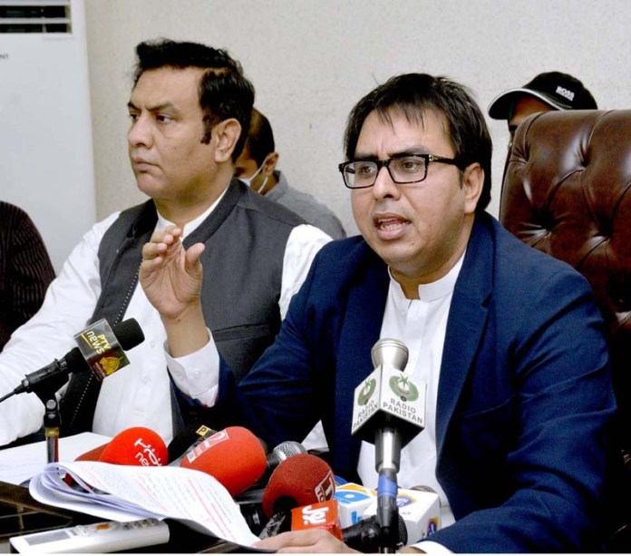 LAHORE: September 20 - Special Assistant to the Prime Minister On Political Communication Dr. Shahbaz Gill talking to media. APP