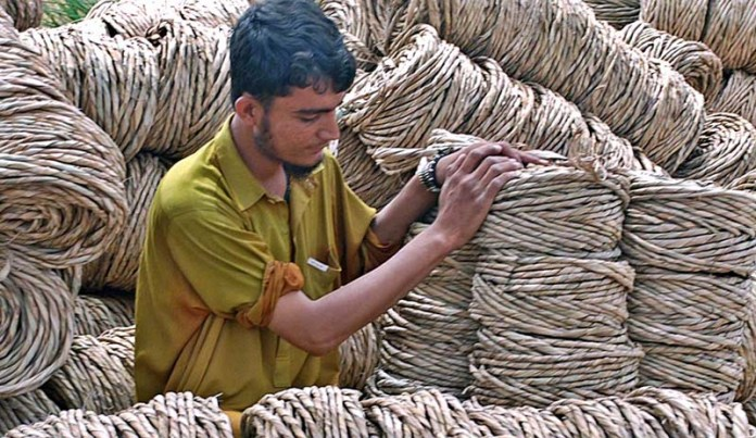 SARGODHA: September 09 - A vendor displaying rope for knitting traditional bed (charpai) at roadside setup. APP photo by Hassan Mahmood
