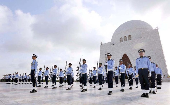 KARACHI: September 06 - Cadets of Pakistan Air Force march at the mausoleum of the country's founder Mohammad Ali Jinnah during celebrations to mark Defence Day. APP photo M. Saeed Qureshi