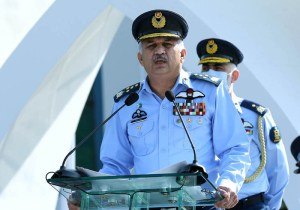 ISLAMABAD: September 07 – Air Chief Marshal Mujahid Anwar Khan, Chief of Air Staff, Pakistan Air Force addressing the personnel during Martyrs Day at air Headquarters. APP