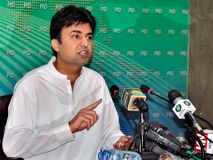 ISLAMABAD: September 09 - Federal Minister for Communications and Postal Services Murad Saeed addressing a press conference at PID Media Center. APP photo by Saleem Rana
