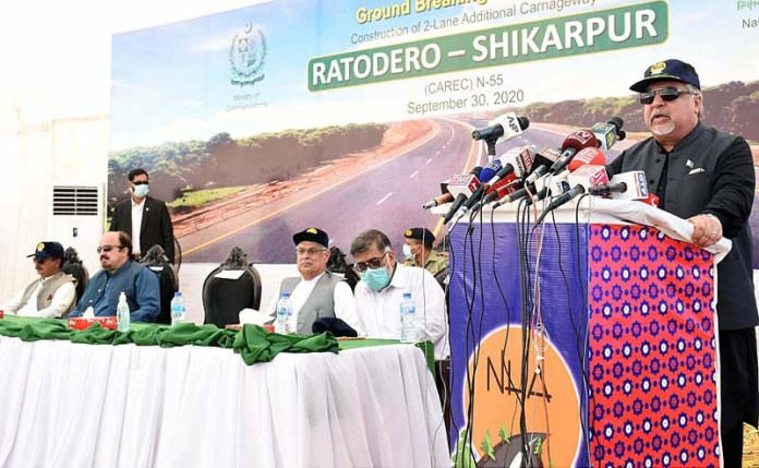 LARKANA: September 30 – Governor Sindh Imran Ismail addressing during ground breaking ceremony of construction of 2-Lane Additional Carriageway Ratodero-Shikarpur Road at Shikarpur Bypass. APP photo by Nadeem Akhtar