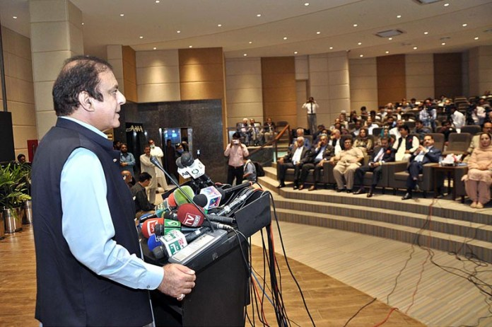 ISLAMABAD: September 16 - Federal Minister for Information and Broadcasting Senator Shibli Faraz addressing during the inaugural ceremony of Auditorium Export Display Centre at EDC Building. APP Photo by Irshad Sheikh