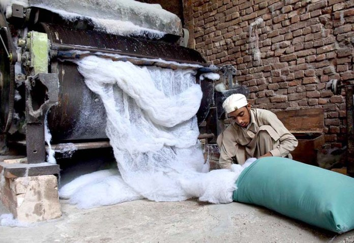 PESHAWAR: September 24 - Laborer is busy in filling cotton in a pillow for selling purpose at Gabgari area. APP photo by Shaheryar Anjum