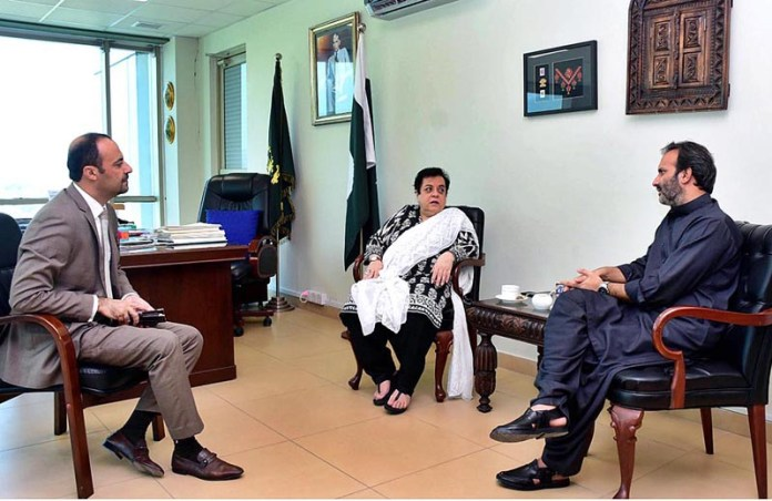 ISLAMABAD: September 09 - Managing Director Pakistan Bait-Ul-Mal, Aon Abbas Buppi called on Federal Minister for Human Rights Dr. Shireen Mazari at her office. APP