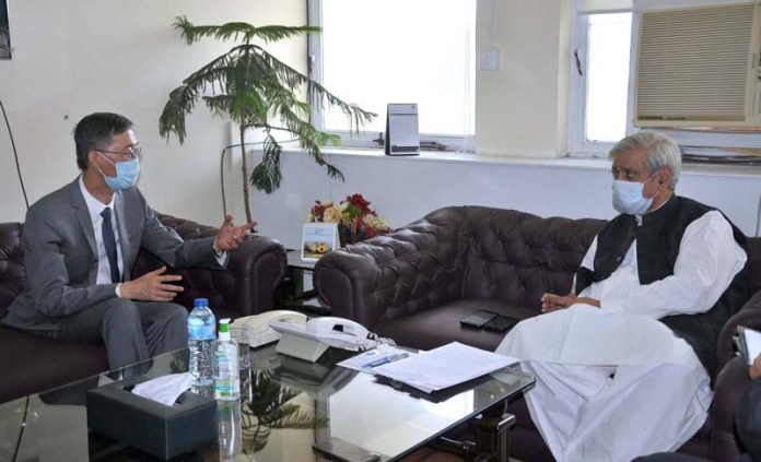 ISLAMABAD: September 18 - Federal Minister for National Food Security and Research, Syed Fakhar Imam in a meeting with Ambassador of China Yao Jing. APP photo by Saeed-ul-Mulk