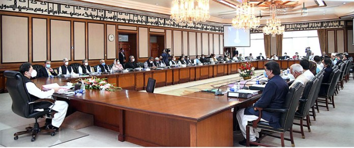 ISLAMABAD: September 29 - Prime Minister Imran Khan chairing meeting of the Federal Cabinet. APP