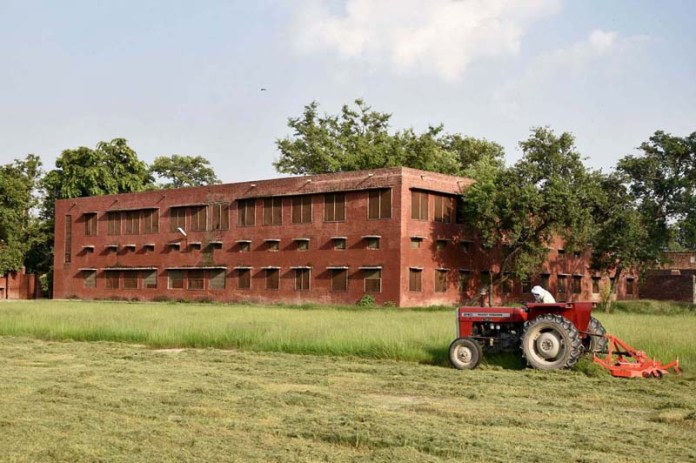 LAHORE: September 14 - A worker cutting grass from playground of Government Pilot School following the government's announcement to reopen educational institutes in phases starting from September 15, nearly six months after the spread of the Covid-19. APP Photo by Mustafa Lashari