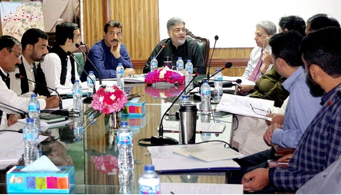 LAHORE: September 16 – Provincial Minister for Wild Game and Fish Farming Syed Samsam Bukhari chairing a meeting with the staff of Department of Wild Life. APP Photo by Ashraf Ch