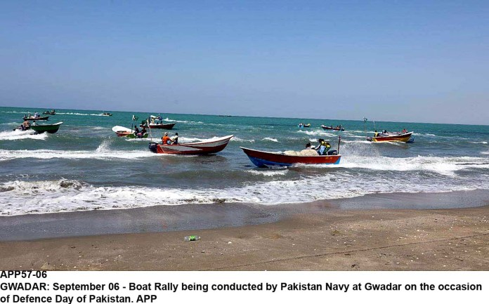 GWADAR: September 06 - Boat Rally being conducted by Pakistan Navy at Gwadar on the occasion of Defence Day of Pakistan. APP