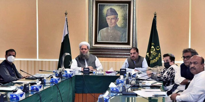 ISLAMABAD: September 09 – Federal Minister for Religious Affairs and Interfaith Harmony, Pir Noor-ul-Haq Qadri chairing a consultative meeting of Cabinet Sub-Committee in the Ministry of Religious Affairs regarding Zaireen Policy. APP