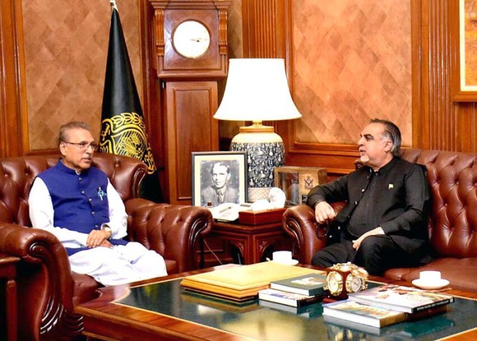 KARACHI: September 09 - Governor Sindh Imran Ismail in a meeting with President, Dr Arif Alvi at Governor House. APP