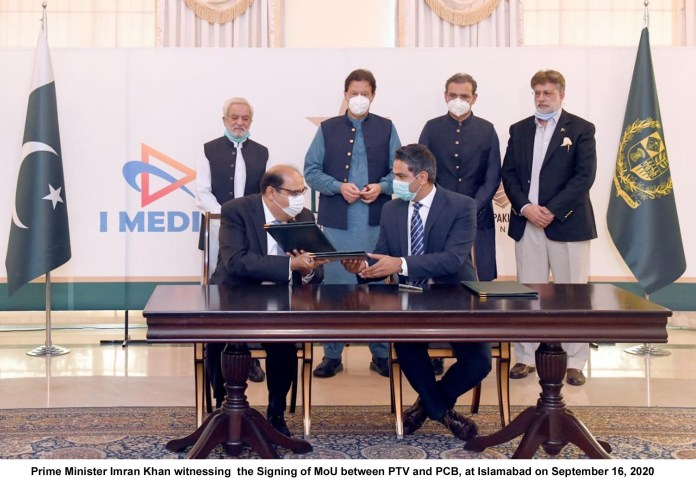 Prime Minister Imran Khan witnessing the Signing of MoU between PTV and PCB, at Islamabad on September 16, 2020