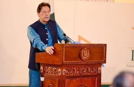 Prime Minister Imran Khan addressing MoU signing ceremony between PCB, PTV