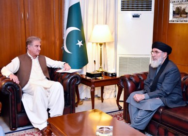 LEADER OF HIZB E ISLAMI AFGHANISTAN, GULBADEEN HEKMATYAR CALLED ON FOREIGN MINISTER MAKHDOOM SHAH MAHMOOD QURESHI AT MINISTRY OF FOREIGN AFFAIRS, ISLAMABAD ON OCTOBER 19, 2020