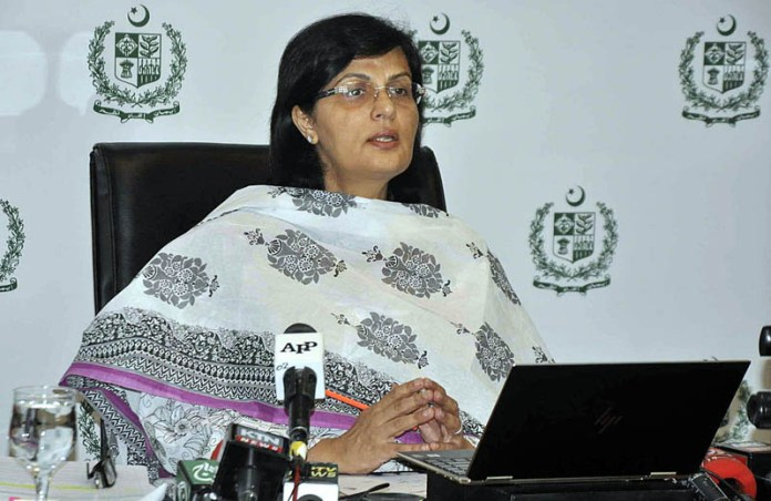 ISLAMABAD: October 08 - SAPM on Poverty Alleviation and Social Safety, Dr. Sania Nishtar delivering her keynotes at the International Webinar Series of Integration and Digitization of G2P Programmes in Indonesia hosted by the Ministry of National Development Planning, Republic of Indonesia in collaboration with the Bill and Melinda Gates Foundation and the World Bank. APP photo by Saleem Rana