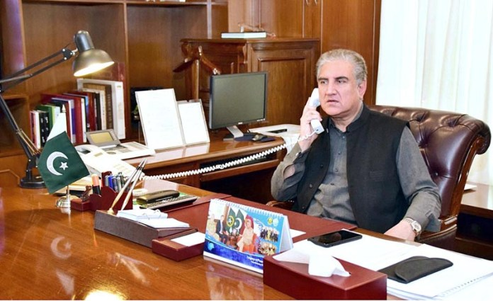 ISLAMABAD: October 20 - Foreign Minister Makhdoom Shah Mahmood Qureshi in a telephonic conversation with the Foreign Minister of Azerbaijan Jeyhun Bayramov. APP
