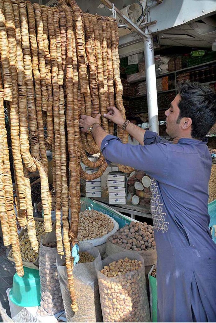 ISLAMABAD: October 16 – A vendor displaying and arranging different kind of dry fruits to attract the customers at his stall in weekly Jumma Bazaar. APP photo by Saeed-ul-Mulk