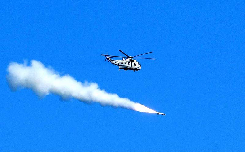 Karachi October 28 Pakistan Navy Helicopter Conducting Live Missile Firing At North Arabian Sea App