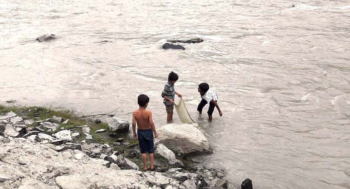 GILGIT: October 13 – Children catching fishes in a traditional way on the banks of river. APP Photo by Ashraf Hussain
