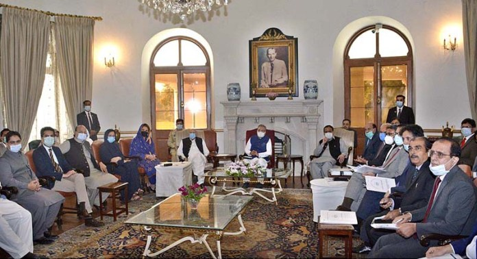 LAHORE: October 27 - President Dr. Arif Alvi and First Lady Mrs. Samina Alvi attending briefing on Population Welfare & Disability Welfare at Governor House. APP photo by Rana Imran