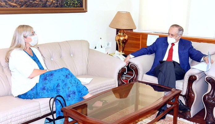 ISLAMABAD: October 02 - Canadian High Commissioner in Pakistan, Ms. Wendy Gilmour calls on Advisor to the Prime Minister on Commerce and Investment, Abdul Razak Dawood. APP