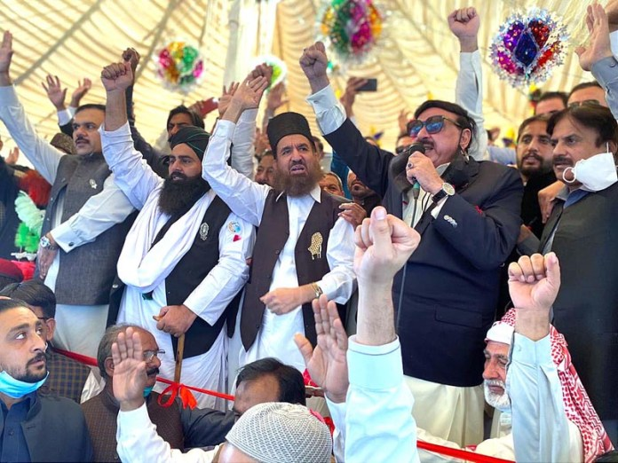 RAWALPINDI: October 31 - Federal Minister for Railways Sheikh Rashid Ahmed addressing during inauguration ceremony of Eid-e-Millad-un-Nabi (SAWW) prosession. APP photo by Javed Qureshi