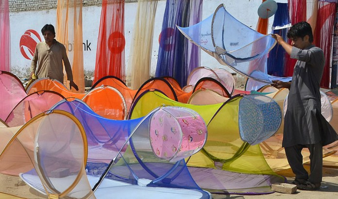 MULTAN: October 03 - Vendor busy in arranging and displaying mosquito nets to attract the customer at his roadside setup. APP photo by Safdar Abbas
