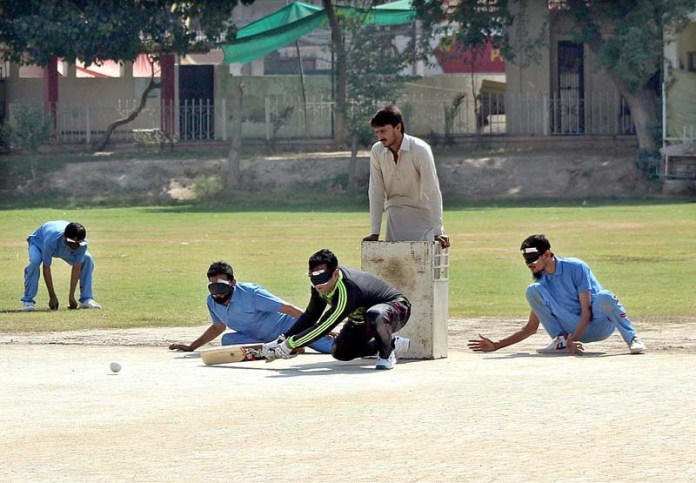 MULTAN: October 15 – A view of cricket match played between URF Blind Cricket Club and PAB Jhang Blind Cricket Club in connection with World White Cane Day at MCG. APP photo by Tanveer Bukhari