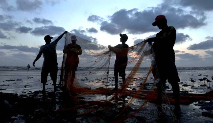 Karachi: October 11- Fishermen collect fishes from a net after fishing at Seaview beach Clifton. APP Photo by M Saeed Qureshi