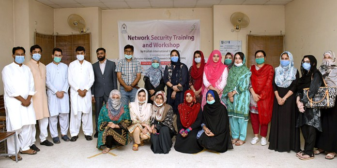 RAWALPINDI: October 02 – A group photo of the participants of a five-day hands-on Network Security Training and Workshop at science block FJWU from September 28 to October 02, 2020, for the Women Network Engineers of Fatima Jinnah Women University, Rawalpindi. This workshop and training is the first training in the project