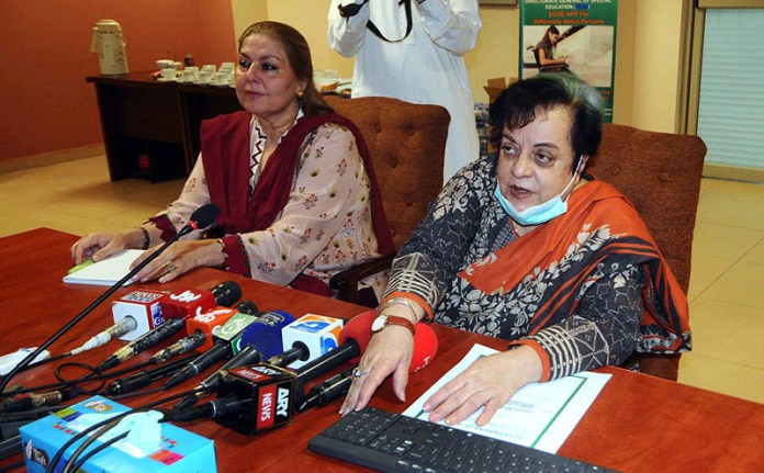 ISLAMABAD: October 22 – Federal Minister for Human Rights, Shireen Mazari launches a mobile app for differently able children at a ceremony. APP photo by Irfan Mahmood