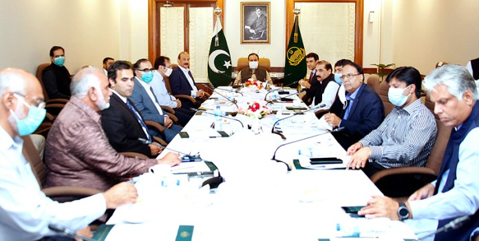 LAHORE: October 02 – Punjab Chief Minister Sardar Usman Buzdar chairs a meeting to review the master plan of projects of construction and widening of shrines to revive the tourism activities in the province. APP