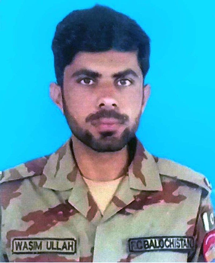 RAWALPINDI: October 18 – (File Photo) Lance Naik Waseem Ullah embraced Shahadat and 3 soldiers got injured during exchange of fire while terrorists fire raid on security forces patrolling party near Jhaki post 35 km South East of Turbat. APP