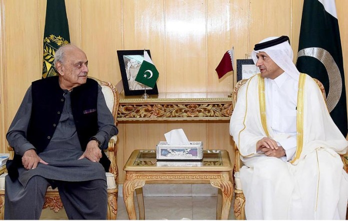 ISLAMABAD: October 01 – Federal Minister for Interior, Brig(R) Ijaz Ahmad in a meeting with Ambassador of Qatar H.E. Sheikh Saoud Bin Abdulrahman bin Faisal Al Thani at the Ministry of Interior. APP