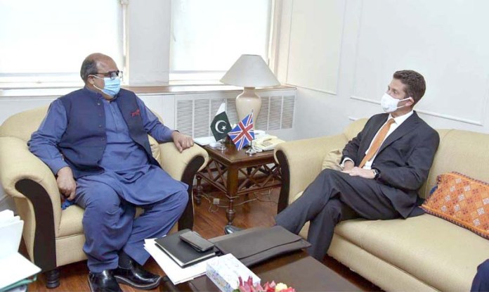 ISLAMABAD: October 12 - British High commissioner Dr. Chrisitan Turner calls on Advisor to Prime Minister on Accountability and Interior Barrister Mirza Shahzad Akbar. APP