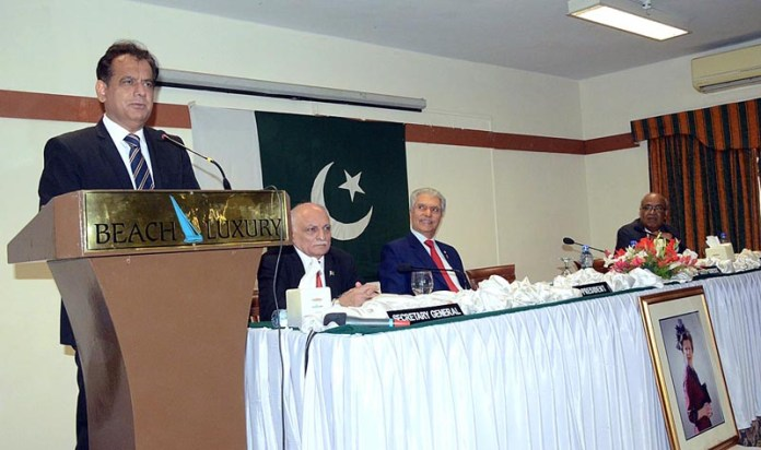 KARACHI: October 23 – Administrator KMC Iftikhar Ali Shallwani addressing during Karachi An Epitome of Resilience at English Speaking Union of Pakistan. APP photo by Abbas Mehdi