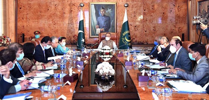 ISLAMABAD: October 21 - President Dr. Arif Alvi presiding a meeting of the Board of Governors of the National School of Public Policy (NSPP) at Aiwan-e-Sadr. APP