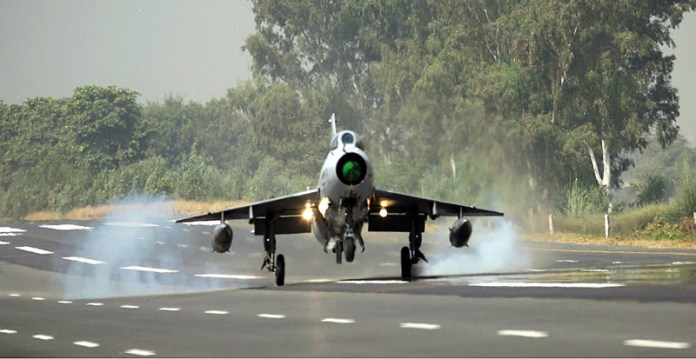 MOTORWAY (M-2): October 07 - A PAF F-7P aircraft landing on the motorway during the road runway operation exercise. APP