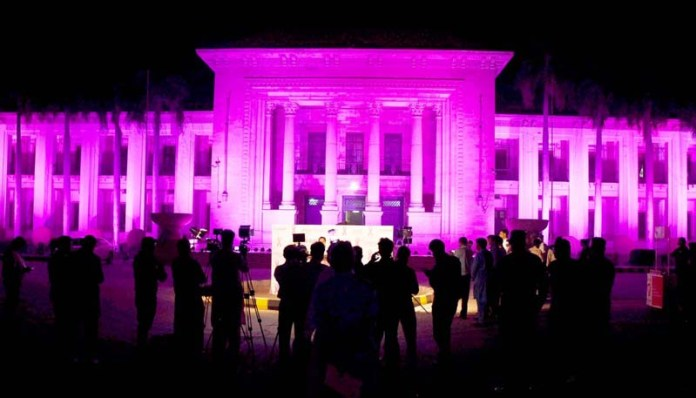 LAHORE: October 22 – A view of Punjab Assembly building, lit up in pink lights in connection with Breast Cancer Awareness Month which is celebrated globally in October. APP photo by Mustafa Lashari