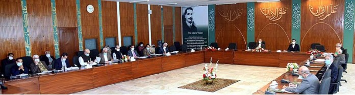 Adviser to the Prime Minister on Finance and Revenue, Dr. Abdul Hafeez Shaikh chairing the meeting of the Economic Coordination Committee of the Cabinet
