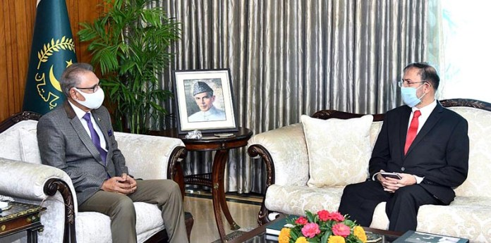 ISLAMABAD: November 04 - Pakistan's Ambassador-designate for Nepal, Syed Haider Shah called on President, Dr. Arif Alvi at Aiwan-e-Sadr. APP