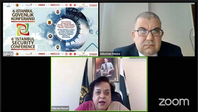 ISLAMABAD: November 05 - Federal Minister for Human Rights Dr. Shireen Mazari addressed online 6th Istanbul Security Conference. APP