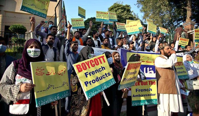 RAWALPINDI: November 06 – PTI Youth Wing and Tiger Force holding a protest rally against French President Emmanuel Macron on the republication of offensive caricatures of the Prophet Muhammad in France and French President Emmanuel Macron's anti-Islam remarks. APP photo by Abid Zia