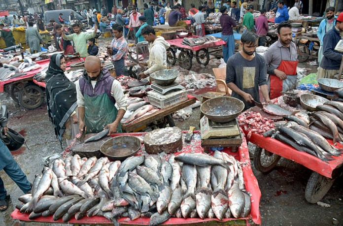Vendors displaying fishes to attract the customers